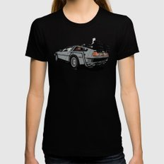 DeLorean MEDIUM Black Womens Fitted Tee