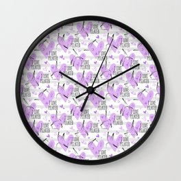 Pilates poses and heart seamless pattern in purple color Wall Clock
