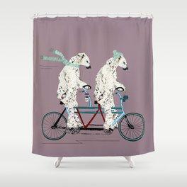 polar bears lets tandem Shower Curtain