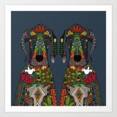 Great Dane love midnight Art Print