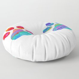 Two Cats Colorful Paws Floor Pillow