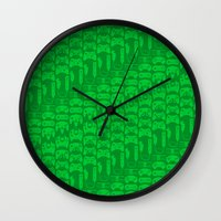 video game Wall Clocks featuring Video Game Controllers - Green by C.Rhodes Design