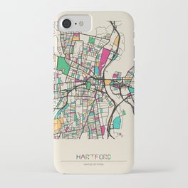Colorful City Maps: Hartford, Connecticut iPhone Case