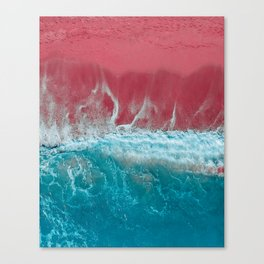 SPLASH III - Electric Pink Sand and Turquoise Waves Art Print Canvas Print