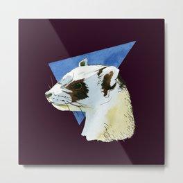 Cute ferret art - aesthetic polecat - wildlife design - albino ferret art - albino - Aubergine decor Metal Print