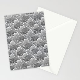 Vintage Japanese Waves, Gray / Grey and White Stationery Cards