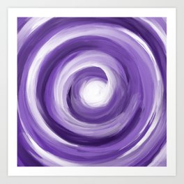 Purple and White Vortex Abstract Painting Art Print