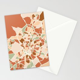 MADRID SPAIN CITY MAP EARTH TONES Stationery Cards