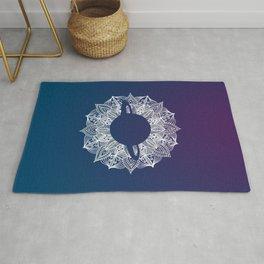 White Mandala Circle Planet Rug