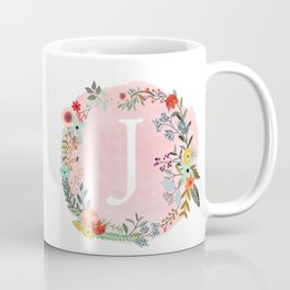 Flower Wreath with Personalized Monogram Initial Letter J on Pink Watercolor Paper Texture Artwork Coffee Mug