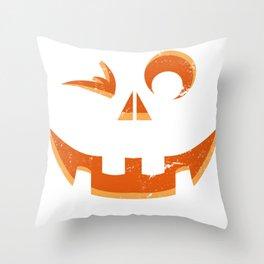 Smiling Pumpkin Slice Throw Pillow