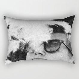 John F Kennedy Cigar and Sunglasses Black And White Rectangular Pillow
