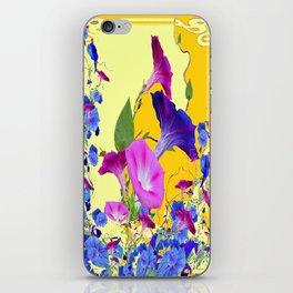 Turmeric-Yellow Color Blue-Purple Morning glories  Art Design iPhone Skin