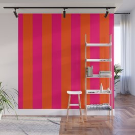Bright Neon Pink and Orange Vertical Cabana Tent Stripes Wall Mural