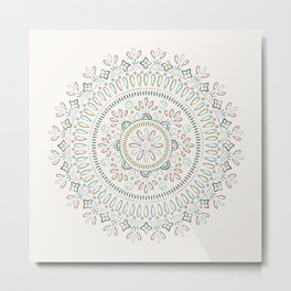 Jardin Mandala - Turquoise Metal Print