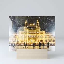 Wintery Street Lights in the Red Square, Moscow, Russia Mini Art Print