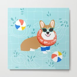 Corgi Pool Party Summer Fun Dog Costume Beach Ball Corgi Dog Design Metal Print