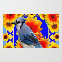 BLUE JAY & GOLDEN SUNFLOWERS WILDLIFE ART Rug