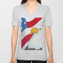 Eagle And Flag Unisex V-Neck