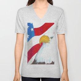 Eagle And Flag Unisex V-Neck