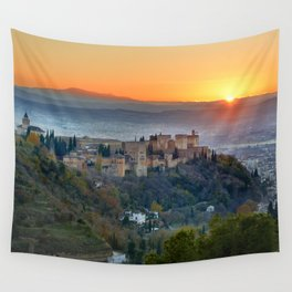 Red sunset at The Alhambra Palace Wall Tapestry