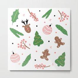 Christmas pattern in pink Metal Print