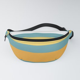 Wide Stripes in Turquoise Blue White Mustard Yellow and Orange Fanny Pack