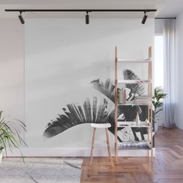 Palm leaves black and white tropical watercolor Wall Mural