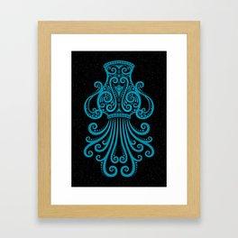 Blue Aquarius Zodiac Sign in the Stars Framed Art Print