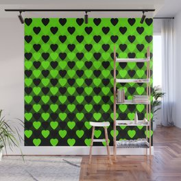 Zigzag of repetitive green hearts staggered on a black background. Wall Mural