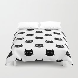 Cat minimal illustration pet cats head drawing digital pattern black and white nursery art Duvet Cover