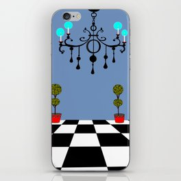 A Chandler with Checkered Tile and Topiaries iPhone Skin