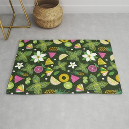 Pineapple mojito with mint leaves Rug