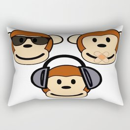 Illustration of Cartoon Three Monkeys - See, Hear, Speak No Evil Rectangular Pillow