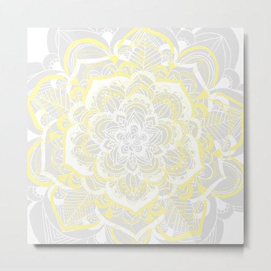 Woven Fantasy - Yellow, Grey & White Mandala Metal Print
