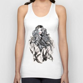 Woman & birds Unisex Tank Top