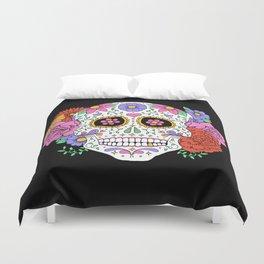 Sugar Skull with Flowers on Black Duvet Cover