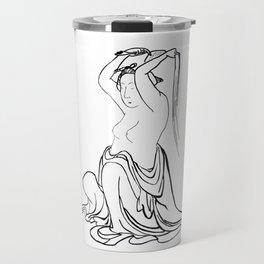 Hokusai – woman combing her hair – hair,comb,clip,peine,pelo,tresses Travel Mug