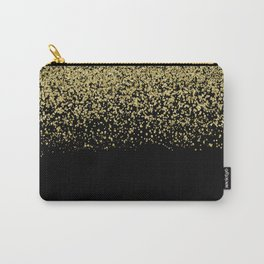 Sparkling gold glitter confetti on black background- Luxury pattern Carry-All Pouch