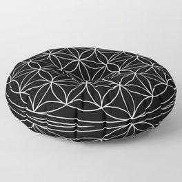 Flower of Life Black & White Floor Pillow