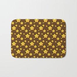 Cute Yellow Stars in Brown BG Bath Mat
