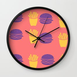 Burger and Fries in Colorful Colors Wall Clock