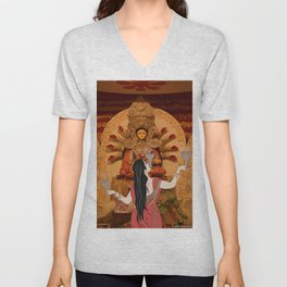 Durga Pujo Illustration Unisex V-Neck
