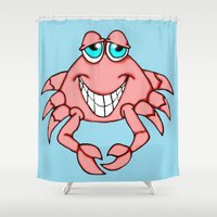 crab Shower Curtains featuring Cheerful Crab by J&C Creations