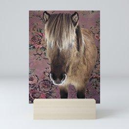 Icelandic pony with rosy posies Mini Art Print