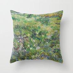 Long Grass with Butterflies by Vincent van Gogh Throw Pillow