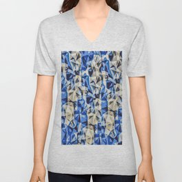 blue black and grey modern abstract background Unisex V-Neck