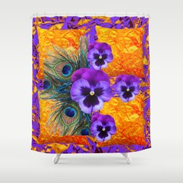 MODERN CONCEPT PURPLE PANSIES GREEN PEACOCK Shower Curtain