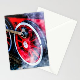Red Wheels White Steam Stationery Cards
