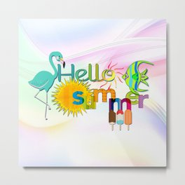 """""""Hello Summer"""" Colorful Graphic Metal Print"""